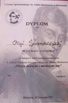 Dyplom Olgi Świerzbińskiej, wyróżnionej w konkursie recytatorskim