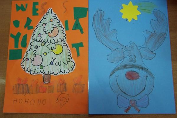 Rysunki wykonane przez obdarowane dzieci