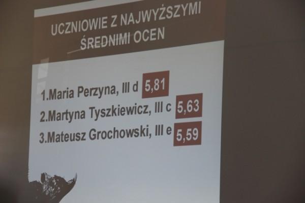 Nazwiska uczniów, którzy ukończyli III LO z najwyższą średnią ocen