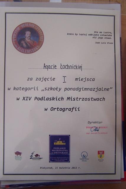 Dyplom Agaty