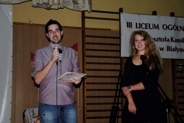 Ricardo Ingelmo – nauczyciel historii i geografii Hiszpanii oraz Aleksandra Wróblewska, ucz. kl. III g