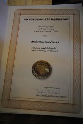 Dyplom pani Małgorzaty Kulikowskiej