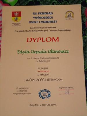 Dyplom Edyty Ułanowicz