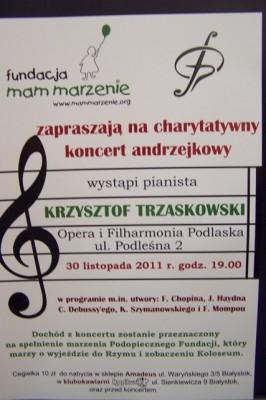 Plakat informujący o koncercie charytatywnym 30.11.2011 r.